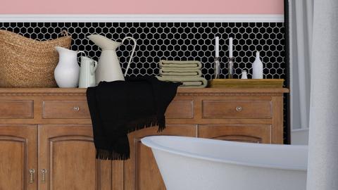 Pink and Black Bath - Minimal - Bathroom  - by HenkRetro1960