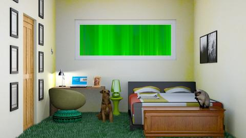 Green and Yellow Bedroom - Bedroom  - by Jahsoftball_