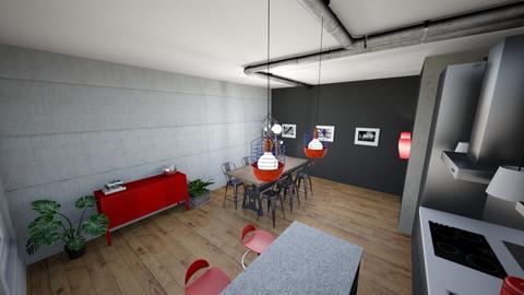 Industrial Red Kitchen - Modern - Kitchen - by mamartinbe