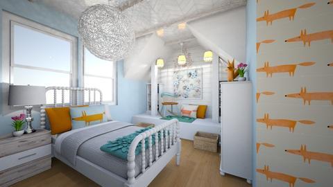 Fox Blues Girls Bedroom - Feminine - Kids room  - by Rebekah Pincock