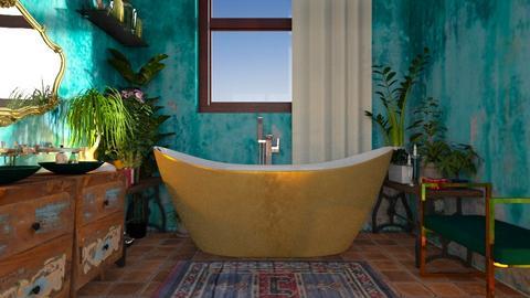 turquoise - Rustic - Bathroom  - by hiiamdani