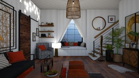 WoodAndRed - Living room - by Miss MH