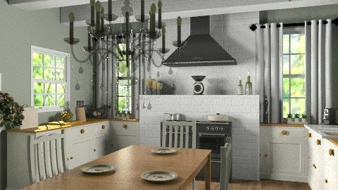 Chandelier_country kitchen - Country - Kitchen  - by mydeco_Jo