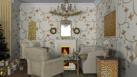 Golden Christmas - Classic - Living room  - by alleypea