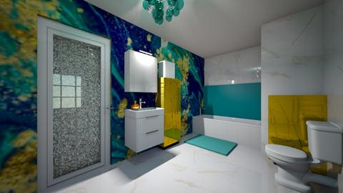 turquoise and gold bathro - Bathroom - by KittyGirl31