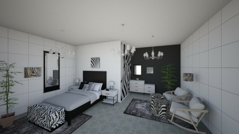 Zany Zebra Bedroom - Retro - Bedroom  - by millerfam