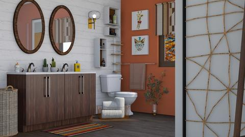 orange and white - Bathroom  - by Adelaide8