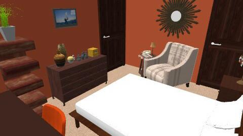 orange and brown - Vintage - Bedroom  - by Kristen7