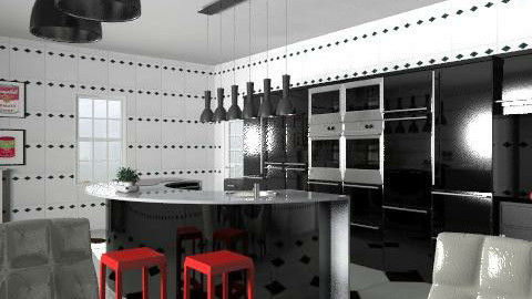 Black and Red  - Modern - Kitchen  - by hunny