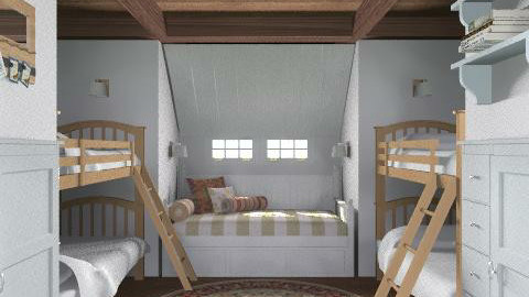Lakeside Cottage - Kids Room - Rustic - Bedroom  - by LizyD