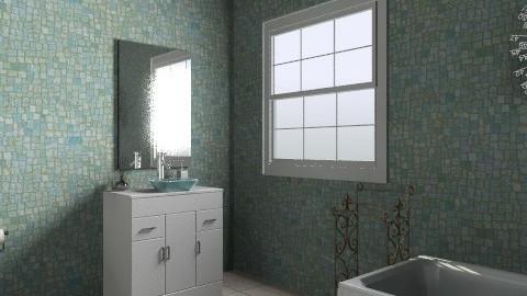 blue green bathroom - Glamour - Bathroom  - by kck22