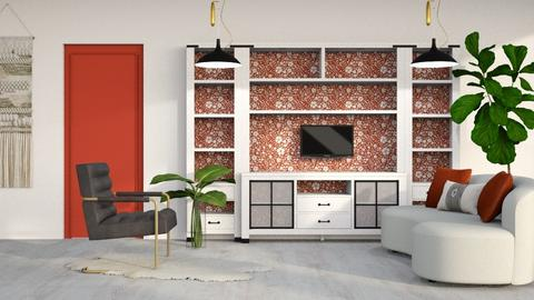 Red Floral - Living room  - by millerfam