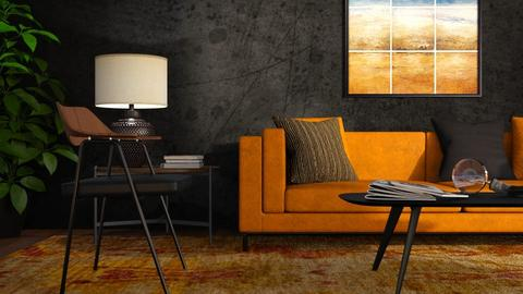 Orange and Black - Living room  - by GraceKathryn