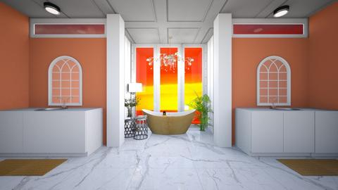 orange and white bathroom - Bathroom  - by Jazzy Jerboa