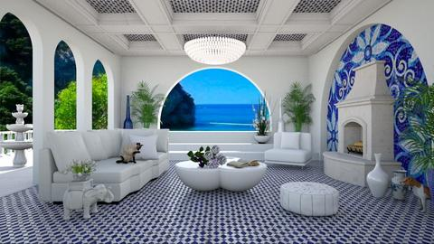 Greek Island Villa LR - Living room  - by lydiaenderlebell
