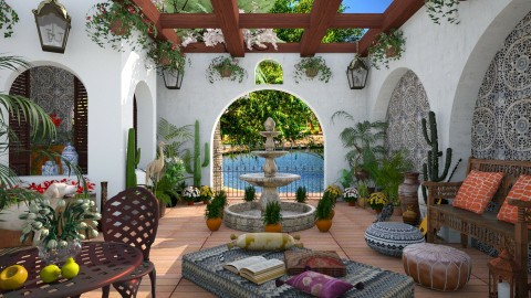 Design 191 Hacienda Courtyard - Garden  - by Daisy320