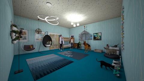 My room and pets in blue - Kids room  - by Ember Fox
