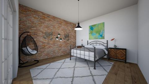 industrial bohemian bedr - Bedroom  - by cherrymary594