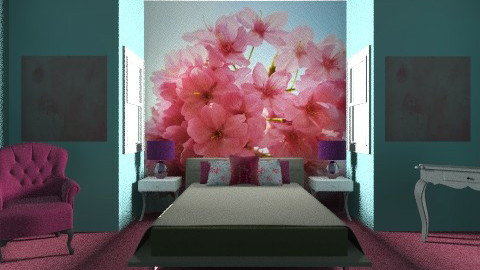 Blue and Pink bedroom - Feminine - Bedroom  - by PaxAmor