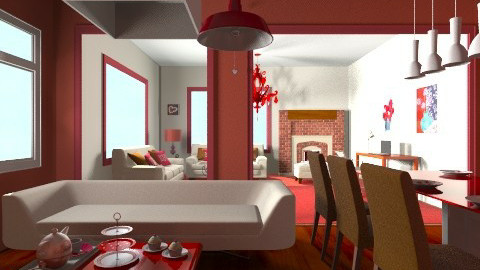 Red - Living room - by Fatima15