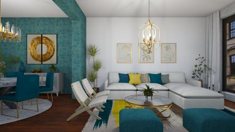 Turquise and gold LR - Modern - Living room  - by martinabb