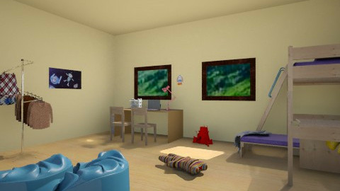 blue and yellow - Kids room - by AnaZderic