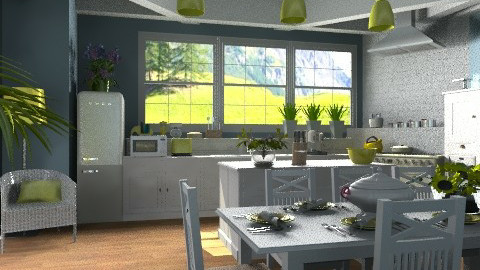 Country kitchen with blue and yellow - Country - Kitchen - by KittiFarkas