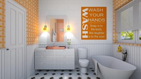 Orange Bath - Bathroom  - by karihegstrom