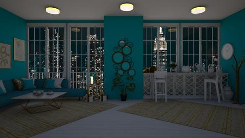 Turquoise and White - Feminine - Living room  - by Twice and Momo