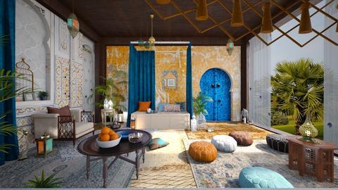 Orange and Blue - Bedroom  - by ArtHousedeco