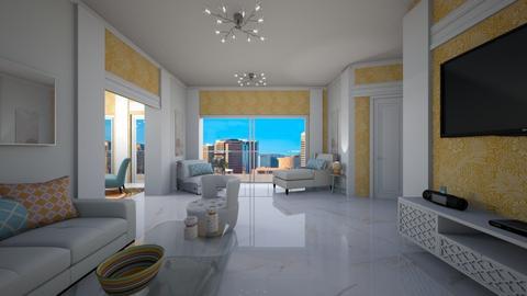 Orange and White Apt - Living room  - by ElleP
