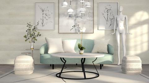 Round Table And Lamps - Living room  - by CatsFurLife
