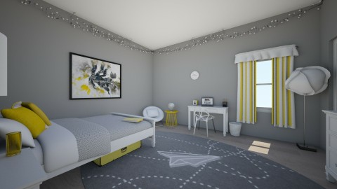 White Grey and Yellow  - Eclectic - Bedroom  - by BrxKxnsxr