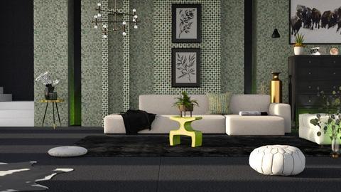 sage green living room - Modern - Living room  - by RimaNina