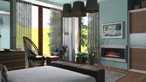 Modern wood with blue... - Modern - Bedroom  - by KittiFarkas