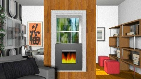 MF Vézina - Salon/Bureau rétro 910 - Retro - Living room  - by Yellow Moon Design