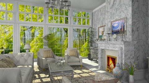 Classic Marble Fireplace - Classic - Living room - by Bibiche