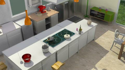 kitchen total view - Minimal - Kitchen  - by kiadeco