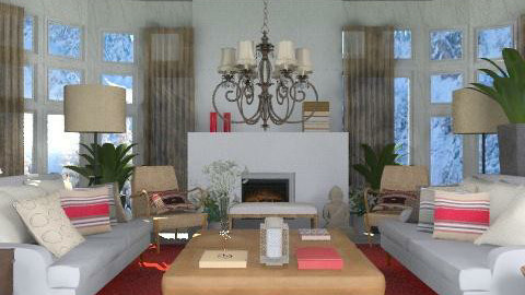 Red - Rustic - Living room  - by du321