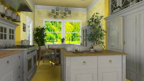 White and Yellow - Vintage - Kitchen - by Bibiche