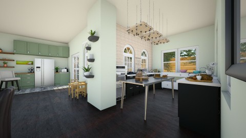 Green Big Family Kitchen - Rustic - Kitchen  - by _PeaceLady_
