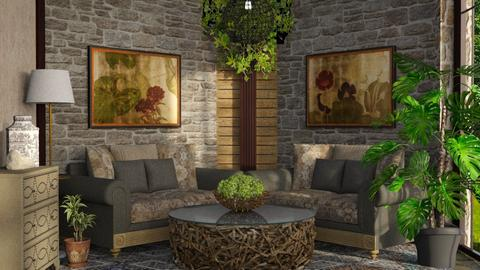 Corner symmetry - Rustic - Living room  - by ZsuzsannaCs