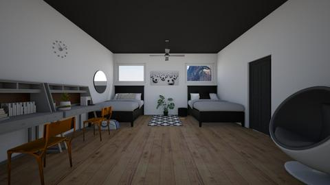 black and white bed room - Kids room  - by XenaChico