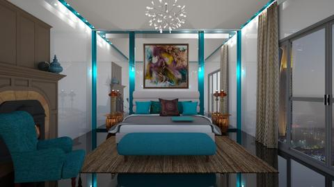Turquoise and Metal - Bedroom - by yonvie