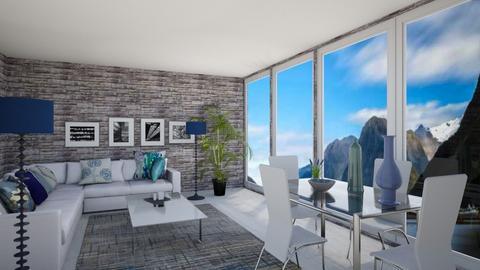 blue living room - Living room  - by Miriam09