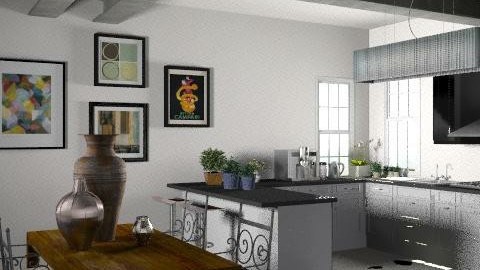 Steel and hide - Eclectic - Kitchen  - by hunny