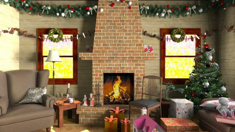 Christmas Cottage - Rustic - Living room  - by yourjieee