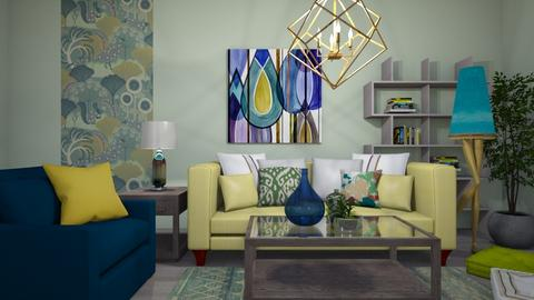 Blue  Yellow Green - Living room - by Sandra Janeth
