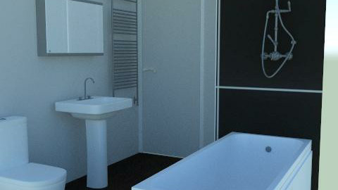 Grey Bathroom Side View - Minimal - Bathroom  - by agbr01895