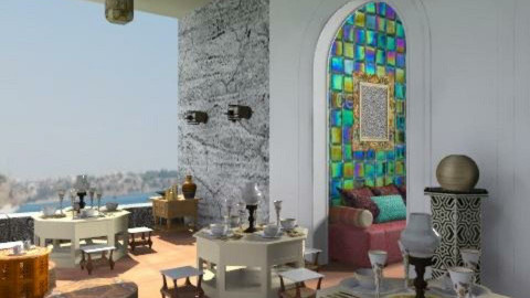 Turkish terrace coffee house2a - Garden  - by auntiehelen